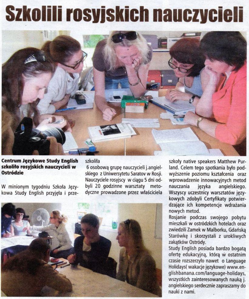 Article in Nasz Glos newspaper in Ostroda